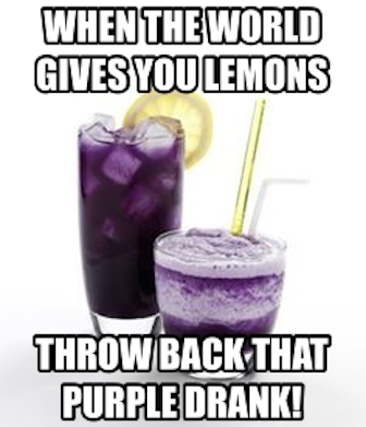 Icy purple beverage in tall glass with lemon wedge, foamy purple beverage with yellow st